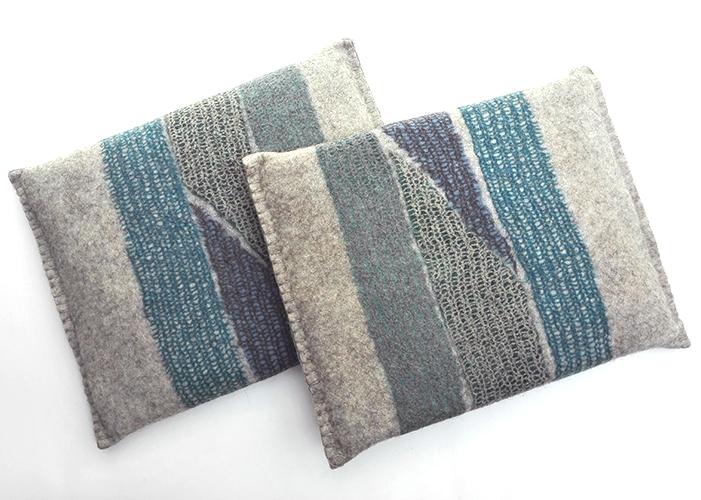 coussins en feutre de laine fait-main Bleu Azur
