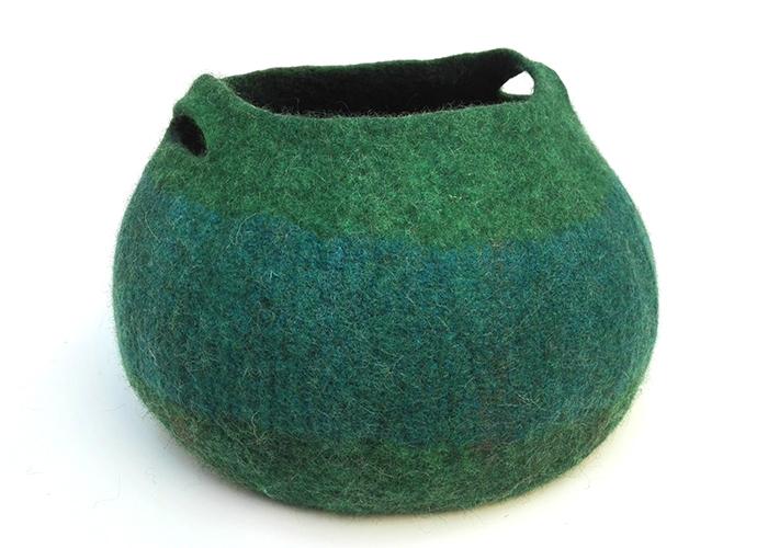 Panier en feutre de laine Bleu/vert