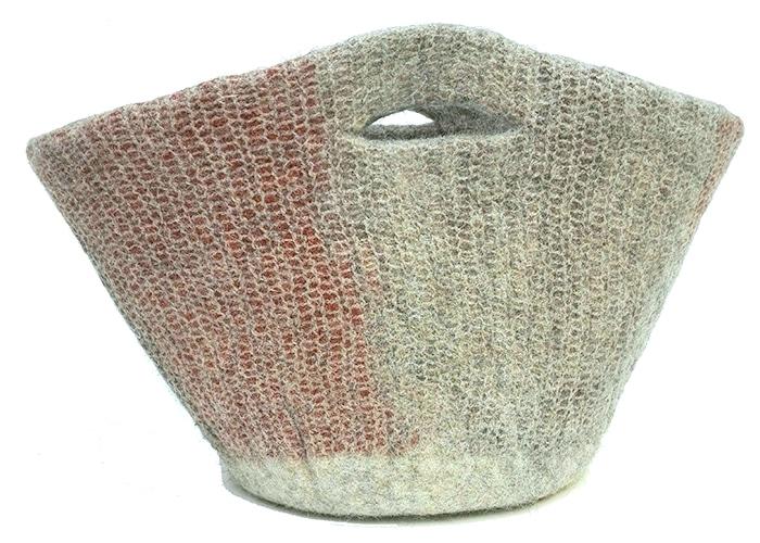 panier en feutre de laine fait-main roux