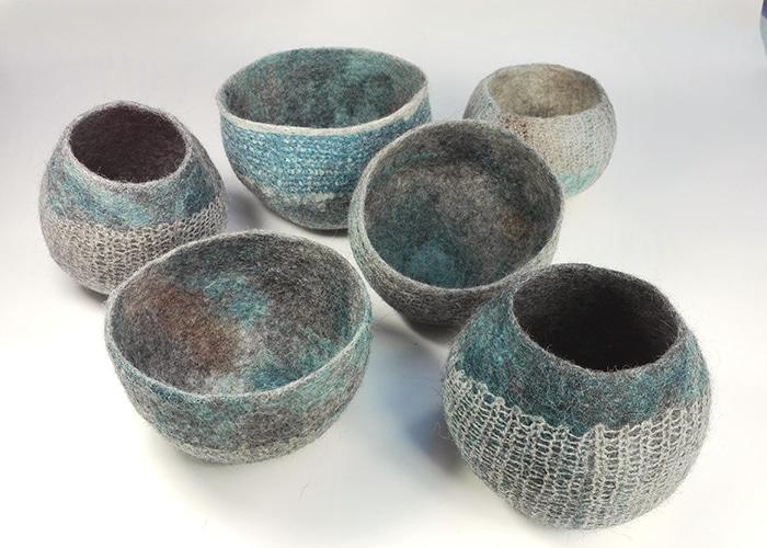 Pots en feutre de laine fait-main Brun bleuté