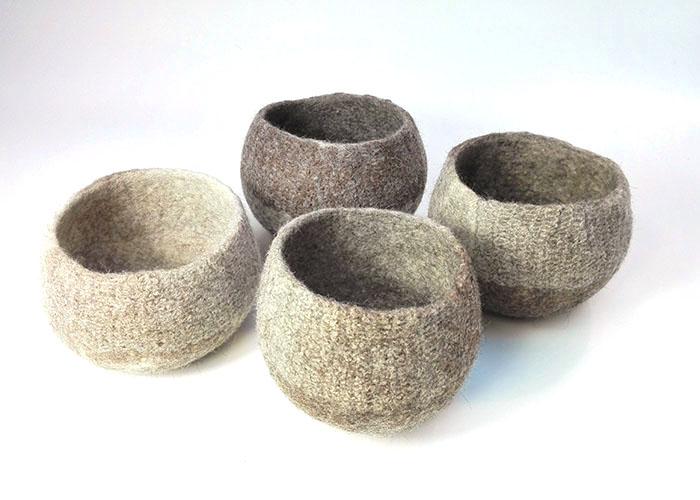 Pots en feutre de laine fait-main Beige
