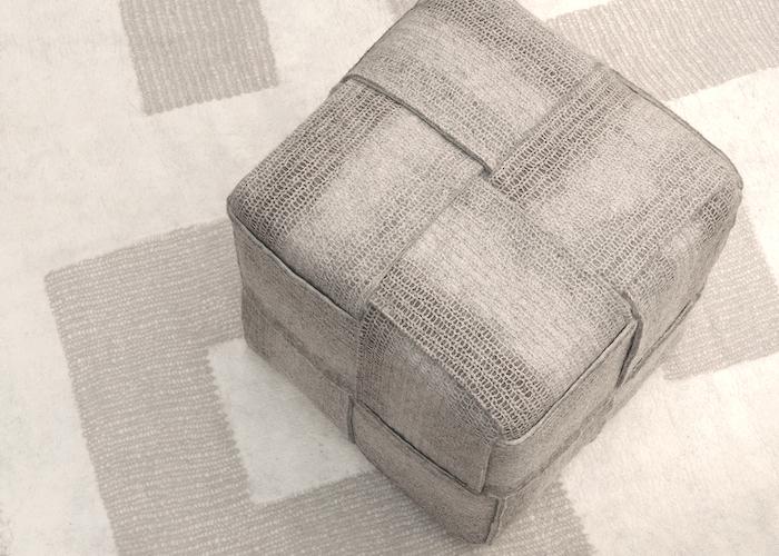 Pouf en feutre de laine fait-main Beige