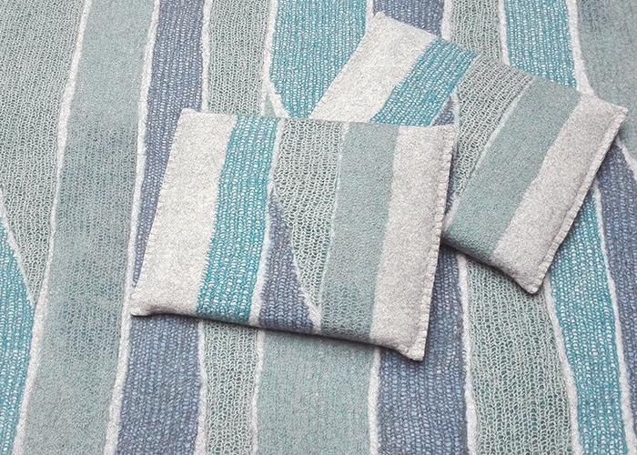 tapis et coussins en feutre de laine fait-main Bleu Azur