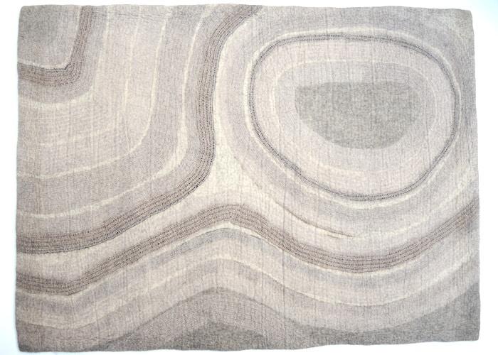 tapis en feutre de laine fait-main Beige