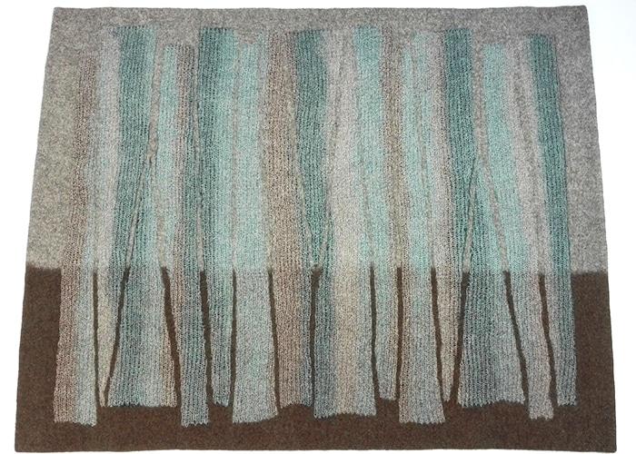 tapis en feutre de laine fait-main Brun bleuté