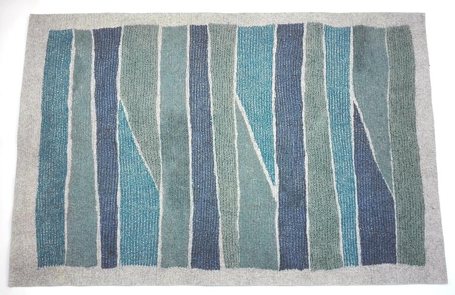 tapis en feutre de laine fait-main Bleu Azur