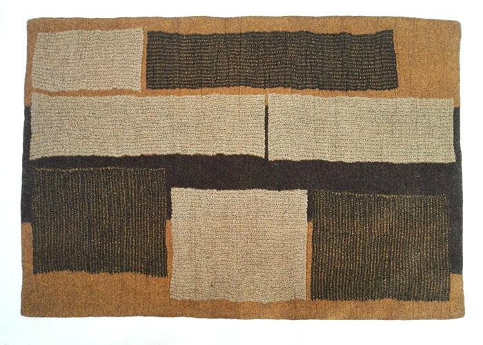 Tapis en feutre de laine fait-main Ocre Noir