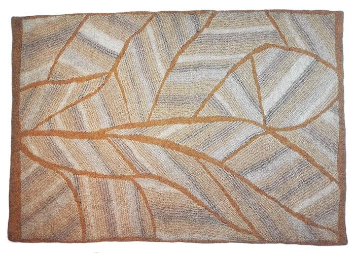 Tapis en feutre de laine fait-main Ocre Beige