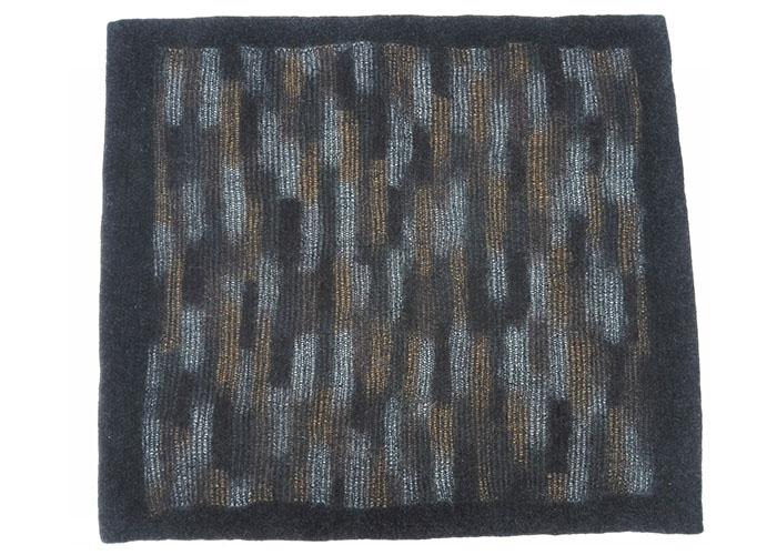 Tapis en feutre de laine fait-main Noir Ocre