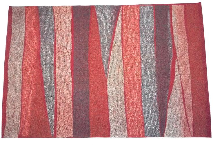 tapis maille et feutre rouge fait-main