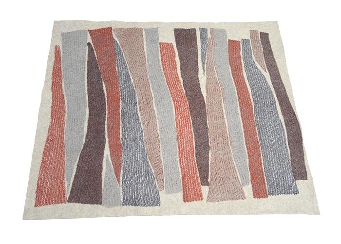 tapis en feutre de laine fait-main roux