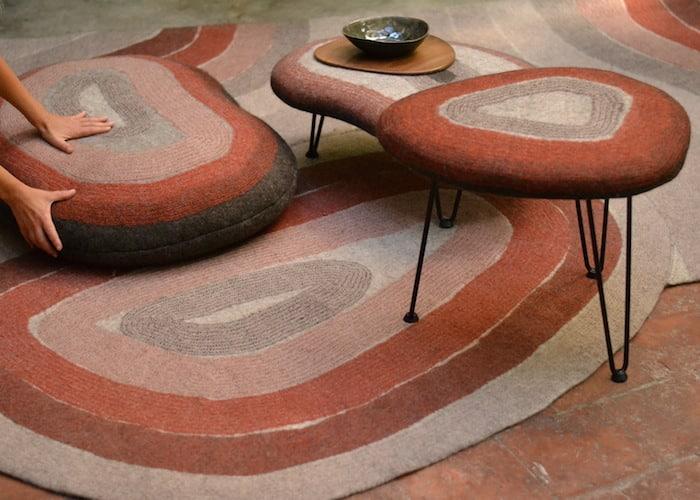 tapis, assises en feutre fait-main